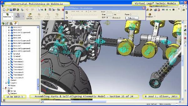 Simulación Cinemática Lego Technic 8432-1 con Cosmos Motion ¿ 21 de 24 - no audio