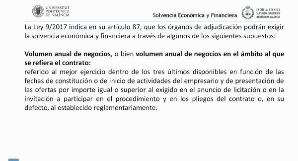 Ley Contratos Sector Público. Criterios de Solvencia Económica y Financiera