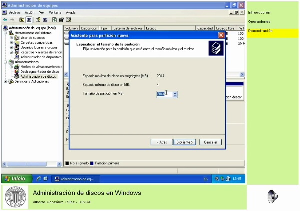 Administración de discos en Windows
