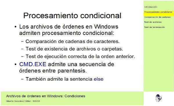 Archivos de órdenes en Windows: Condiciones
