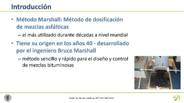 Diseño de mezclas asfálticas: Método Marshall