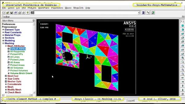 Mallado Elementos Finitos Triangulares Dominio Plano en Ansys Classic - v2017