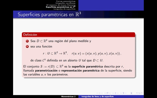 Superficies paramétricas.