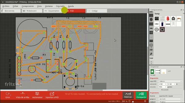 Tutorial Fritzing PCBs 2: distribuir y rutear los elementos en la placa