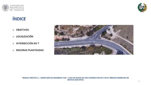 Inspección de Seguridad Vial de una Intersección en T en Benissa (Alicante)