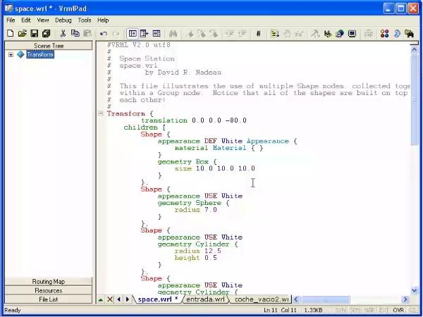 Editor de ficheros VRML: VRMLPad