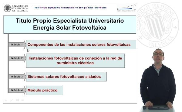 Presentación del Titulo Propio de Especialista Universitario en Energía Solar Fotovoltaica.