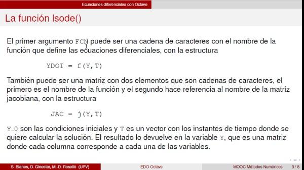Ecuaciones diferenciales con Octave