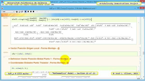 Solución Cinemática Simbólica a-4-1553 con Mathematica - 22 de 23 - Modelo Mathematica ¿ Ambas