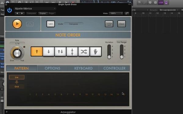 Tutorial Logic Pro X: Efectos MIDI: Arpeggiator