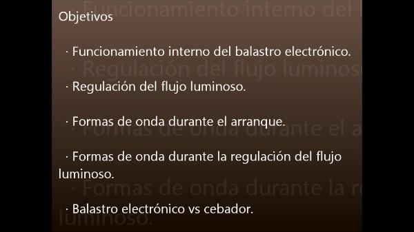 Arranque y regulación del flujo luminoso de un tubo fluorescente mediante balastro electrónico.