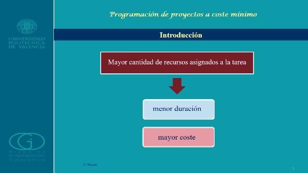 Programación de proyectos a coste mínimo