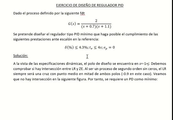 Diseño de regulador tipo PID (ejercicio resuelto)