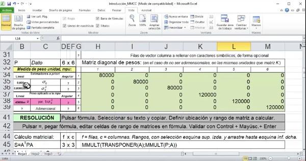 Actividad Univ. Calculo en Geomática MM.CC. por OI con Excel 01_Fundamento