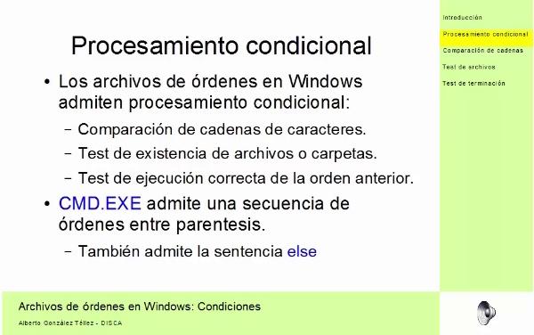Sentencias condicionales en archivos de órdenes en Windows