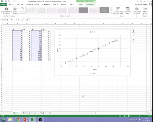 Graphs and fitting video 4: Fitting in Excel