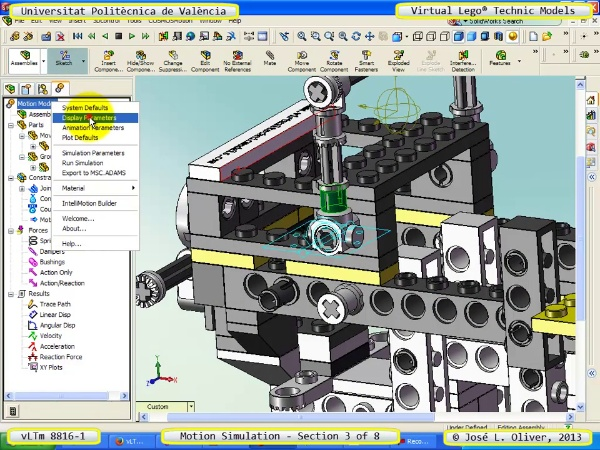Simulación Cinemática Lego Technic 8816-1 con Cosmos Motion ¿ 3 de 8