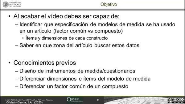 Caso práctico 1: identificar el modelo de medida dimensiones e items