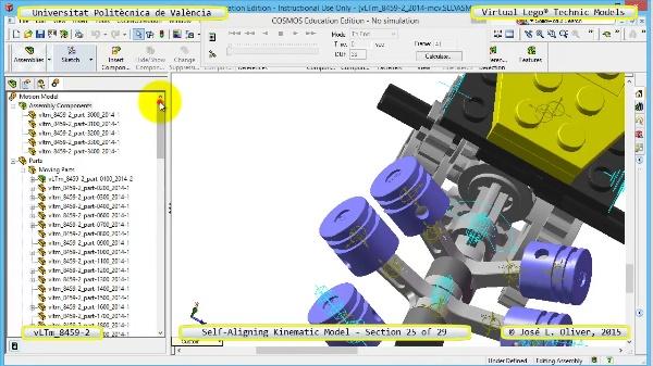 Simulación Cinemática Lego Technic 8459-2 con Cosmos Motion ¿ 25 de 29