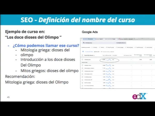 SPOC Gestión de MOOC. Marketing de edX. SEO Optimización de títulos