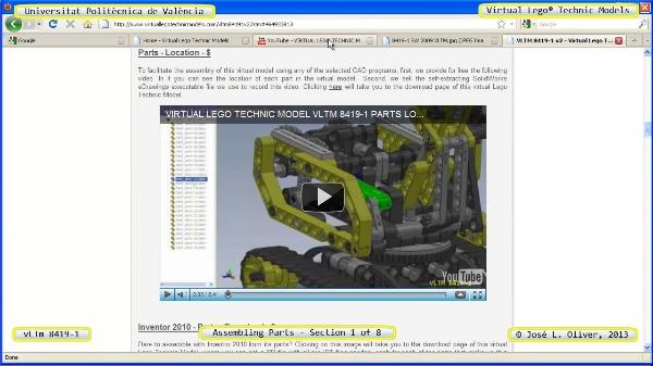 Montaje Modelo Lego Technic 8419-1 con Solidworks ¿ 1 de 8 - no audio