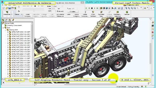 Simulación Dinámica Lego Technic 8862-1 - Tractor - sobre Base - 03 de 27