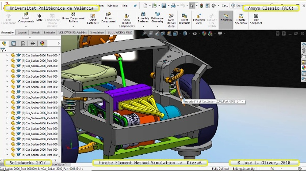 Análisis Estático Pieza Automóvil con Ansys Classic v18 - 1a Parte