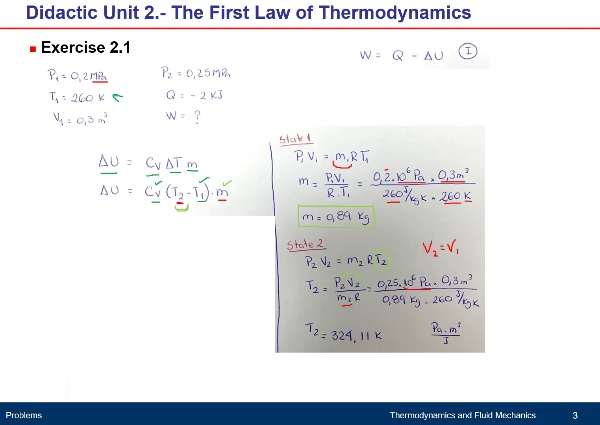 Didactic Unit 2. The First Law of Thermodynamics Exercises 2.1 - 2.2