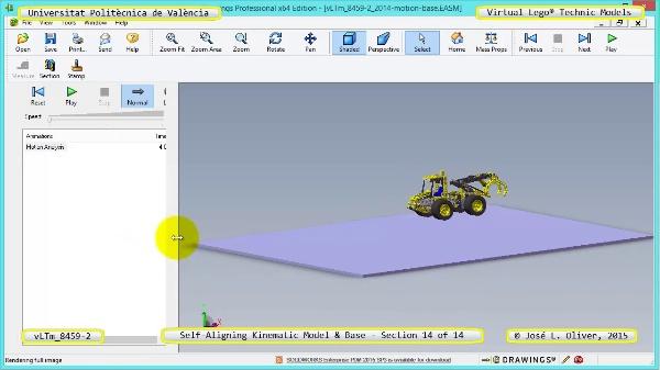 Simulación Dinámica Lego Technic 8459-2 sobre Base ¿ 14 de 14
