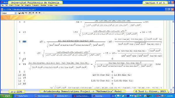 Solución Cinemática Simbólica a_z_1196 con Mathematica - 4 de 5