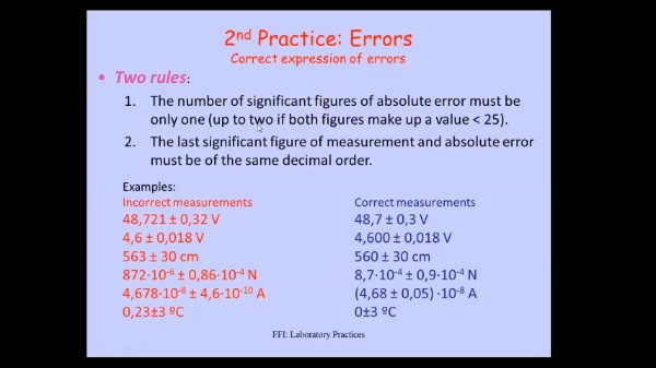 Errores en las medidas (Practica 2)