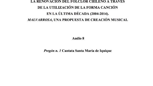 [35] Audio 8 - Pregón n. 1 Cantata Santa María de Iquique