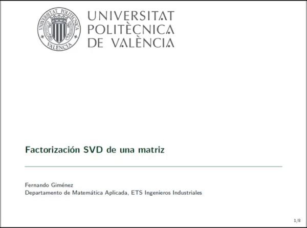 Descomposición SVD de una matriz