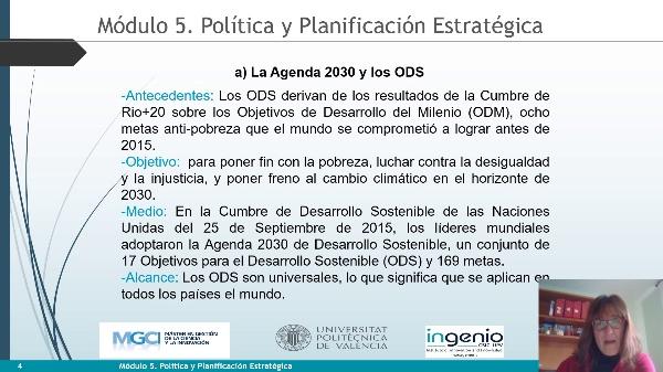 Módulo 5. Política y Planificación estratégica. ODS