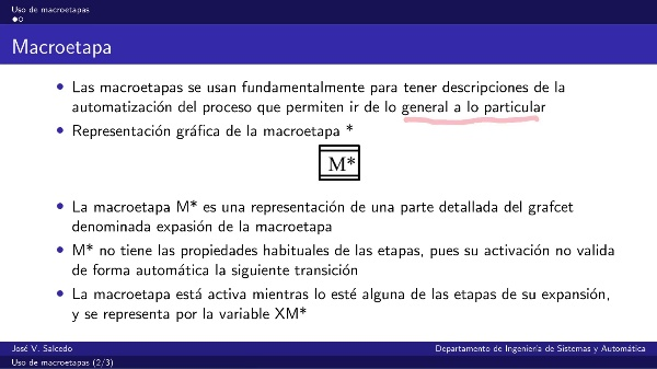 Uso de macroetapas