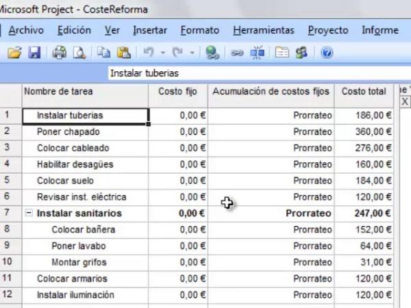 Costes en MS Project