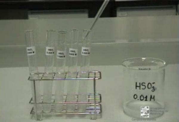 Cinética de una reacción: reacción entre el bisulfito y el iodato