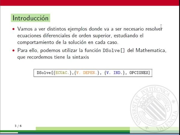 Ecuaciones diferenciales con Mathematica: Aplicaciones de las ecuaciones diferenciales de orden n