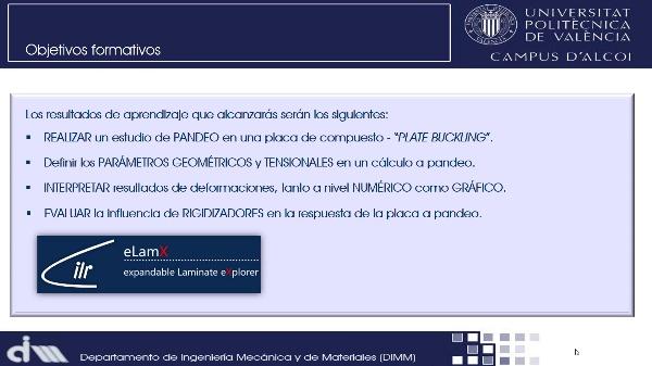 Screencast - CÁLCULO DE UNA PLACA DE LAMINADO COMPUESTO A PANDEO MEDIANTE TEORÍA CLÁSICA DE LAMINADOS CON eLamX