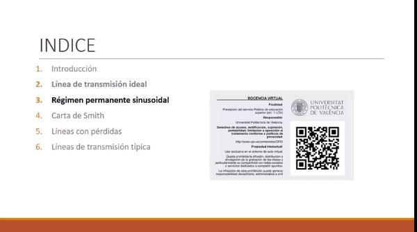 Fundamentos de transmisión. Tema 4.3.2. Régimen permanente sinusoidal. Parámetros primarios y secundarios.