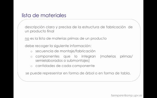 Conceptos relacionados con la planificación de producción: Lista de materiales