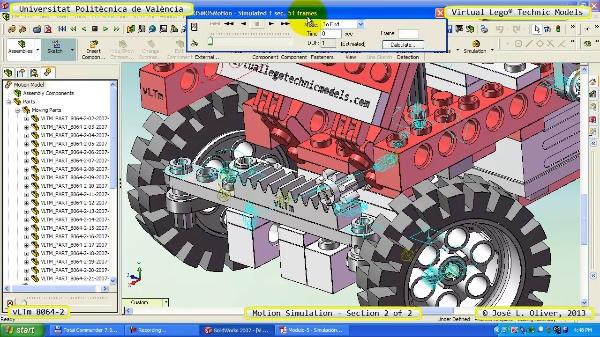 Simulación Dinámica Lego Technic 8064-2 sobre Base 2 de 2