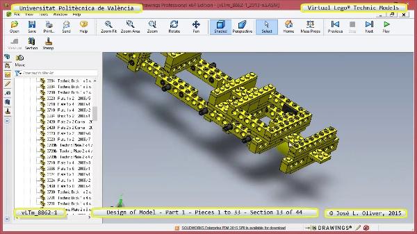 Creación Virtual Modelo Lego Technic 8862-1 ¿ Pieza 1 ¿ 13 de 44