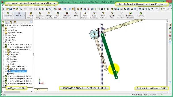 Simulación Mecanismo a-z-1190 con Cosmos Motion - 1 de 3
