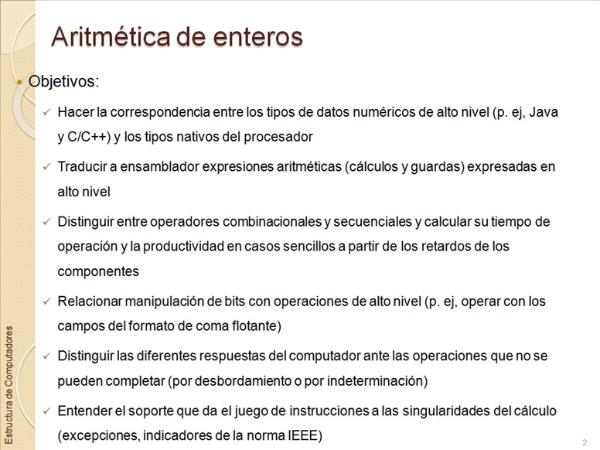 Aritmética Entera. Introduccion