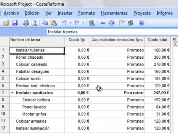 Costes en MS Project