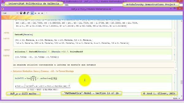 Solución Cinemática Simbólica a-z-1133 con Mathematica - 13 de 26