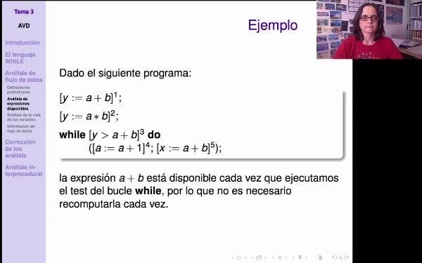 AVD - Ejemplo de análisis de expresiones disponibles