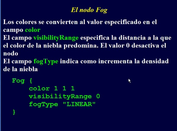 Incluir niebla en VRML