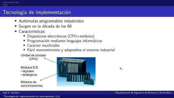Tecnologías de implementación de automatismos